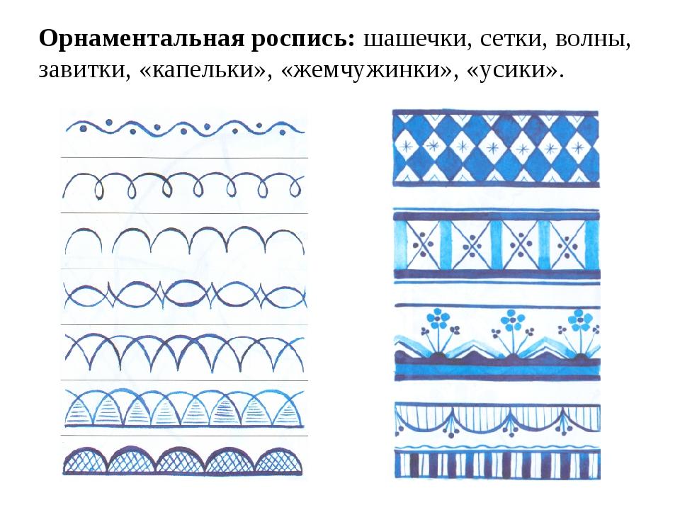 Орнаментальная роспись: шашечки, сетки, волны, завитки, «капельки», «жемчужин...