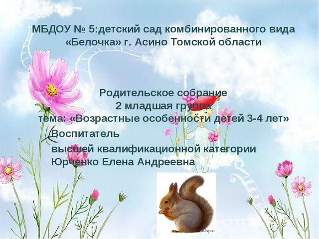 МБДОУ № 5:детский сад комбинированного вида «Белочка» г. Асино Томской област...