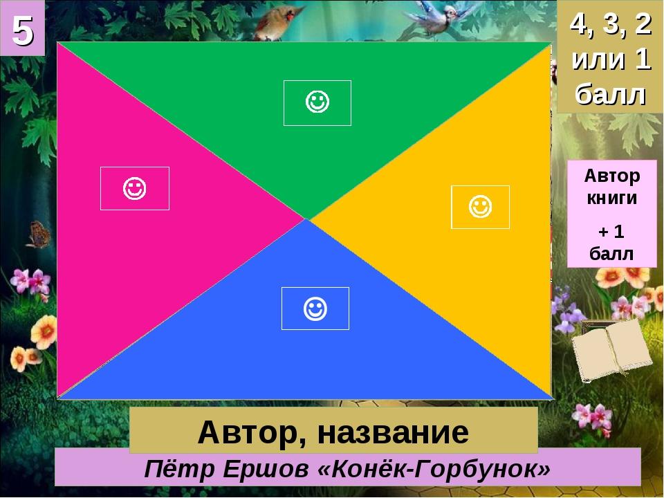 5 Пётр Ершов «Конёк-Горбунок» 4, 3, 2 или 1 балл Автор, название Автор книги...