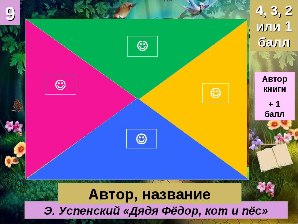 9 Э. Успенский «Дядя Фёдор, кот и пёс» 4, 3, 2 или 1 балл Автор, название Авт...