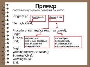 Пример Составить программу сложения 2-х чисел Program pr; Var a,b,s:real; Pro