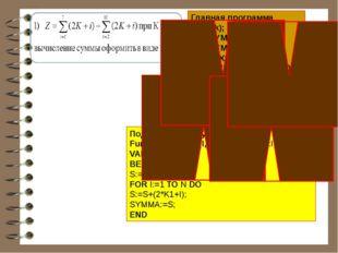 Главная программа Read(k); X1:=SYMMA(1,7,K); X2:=SYMMA(2,10,K); Z:=X1+X2; WRI