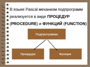 В языке Pascal механизм подпрограмм реализуется в виде ПРОЦЕДУР (PROCEDURE) и