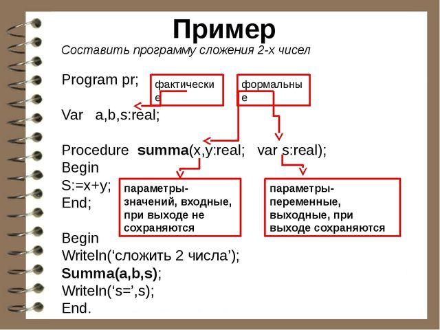 Пример Составить программу сложения 2-х чисел Program pr; Var a,b,s:real; Pro...