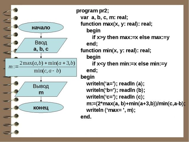 program pr2; var a, b, c, m: real; function max(x, y: real): real; begin if x...