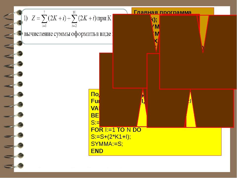 Главная программа Read(k); X1:=SYMMA(1,7,K); X2:=SYMMA(2,10,K); Z:=X1+X2; WRI...