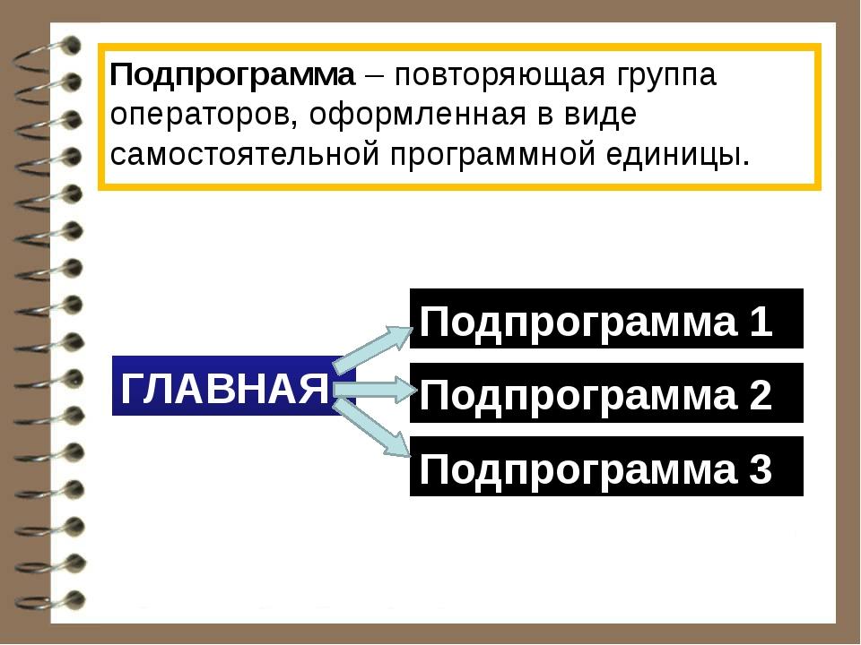 Подпрограмма – повторяющая группа операторов, оформленная в виде самостоятель...