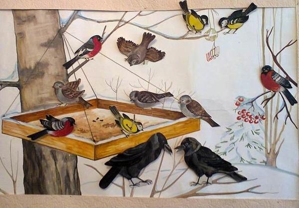 Смешные рисунки птички на кормушке