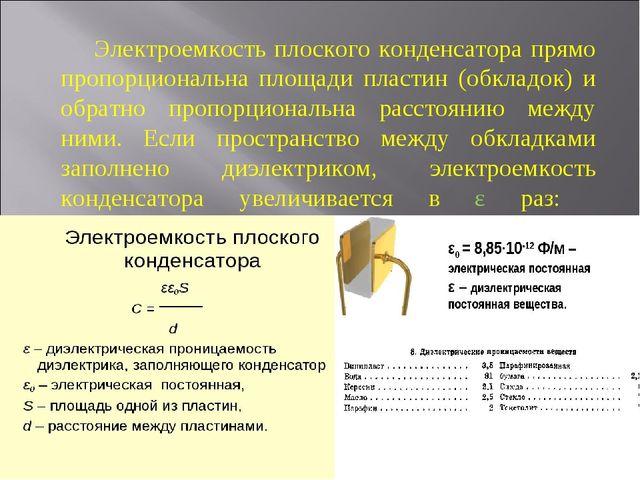 Электроемкость плоского конденсатора прямо пропорциональна площади пластин (...