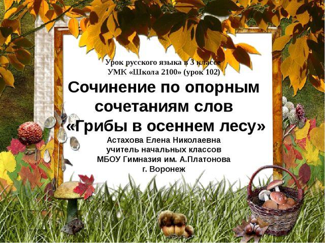 Урок русского языка в 3 классе УМК «Школа 2100» (урок 102) Сочинение по опорн...