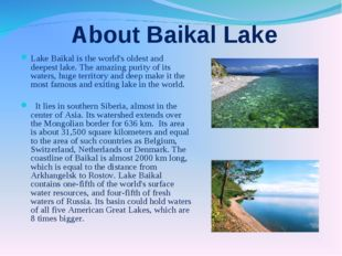 About Baikal Lake Lake Baikal is the world's oldest and deepest lake. The am