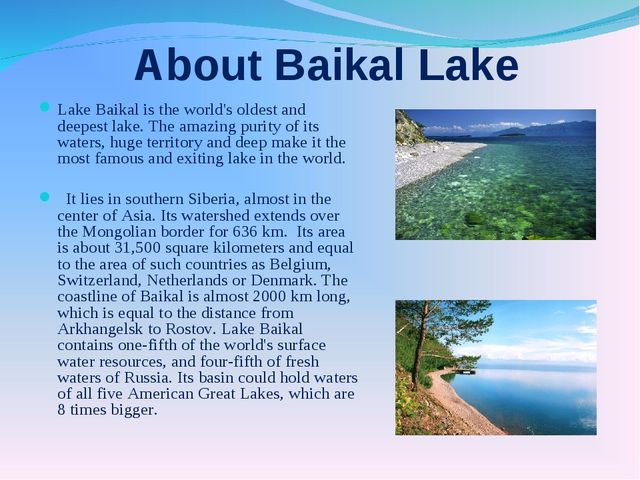 About Baikal Lake Lake Baikal is the world's oldest and deepest lake. The am...