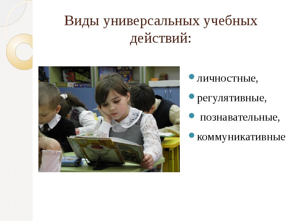 Виды универсальных учебных действий: личностные, регулятивные, познавательные...