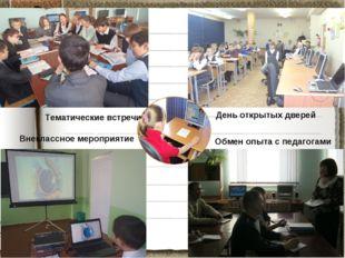 День открытых дверей Тематические встречи Обмен опыта с педагогами Внеклассно