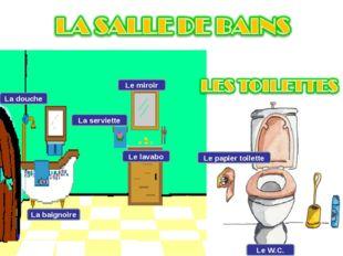 La douche La baignoire La serviette Le miroir Le lavabo Le papier toilette Le