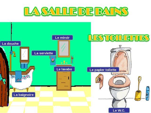La douche La baignoire La serviette Le miroir Le lavabo Le papier toilette Le...