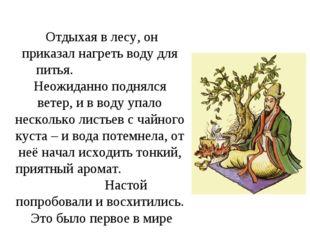 Отдыхая в лесу, он приказал нагреть воду для питья. Неожиданно поднялся вете
