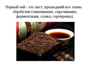 Черный чай - это лист, прошедший все этапы обработки (завяливание, скручивани