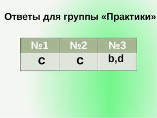 Ответы для группы «Практики» №1 №2 №3 c c b,d