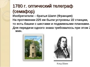 1780 г. оптический телеграф (семафор) Изобретатели – братья Шапп (Франция) На