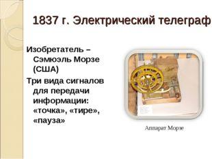 1837 г. Электрический телеграф Изобретатель – Сэмюэль Морзе (США) Три вида си