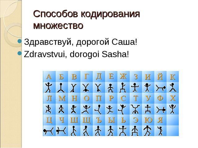 Способов кодирования множество Здравствуй, дорогой Саша! Zdrаvstvui, dorogoi...