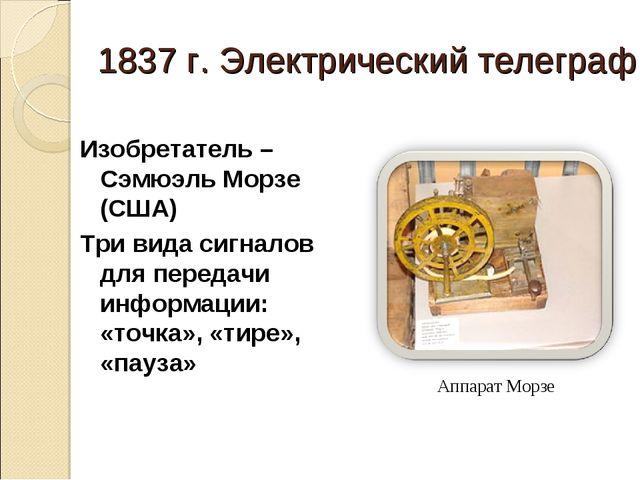 1837 г. Электрический телеграф Изобретатель – Сэмюэль Морзе (США) Три вида си...