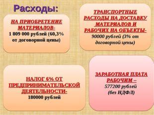 Расходы: НА ПРИОБРЕТЕНИЕ МАТЕРИАЛОВ- 1809000 рублей (60,3% от договорной це