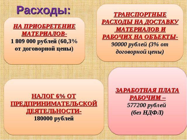 Расходы: НА ПРИОБРЕТЕНИЕ МАТЕРИАЛОВ- 1809000 рублей (60,3% от договорной це...