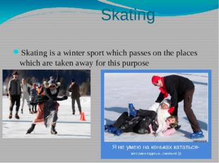 Skating Skating is a winter sport which passes on the places which are taken