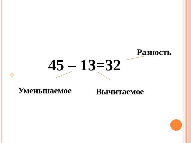 45 – 13=32 Разность Уменьшаемое Вычитаемое