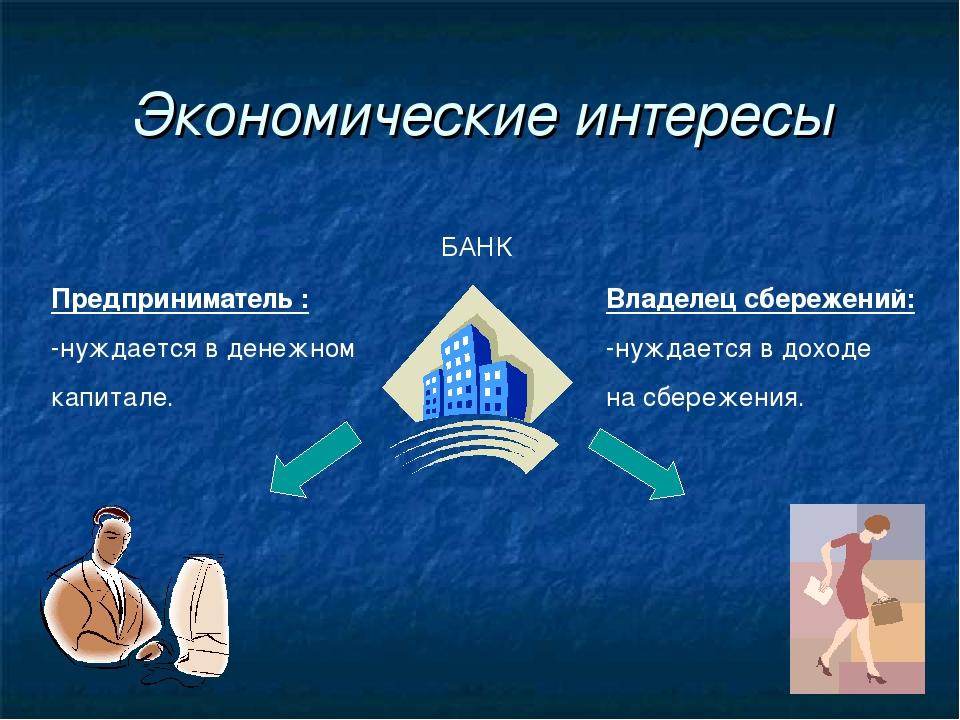 Экономические интересы БАНК Предприниматель : -нуждается в денежном капитале....