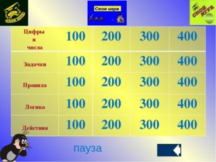 пауза Цифры и числа100200300400 Задачки100200300400 Правила1002003