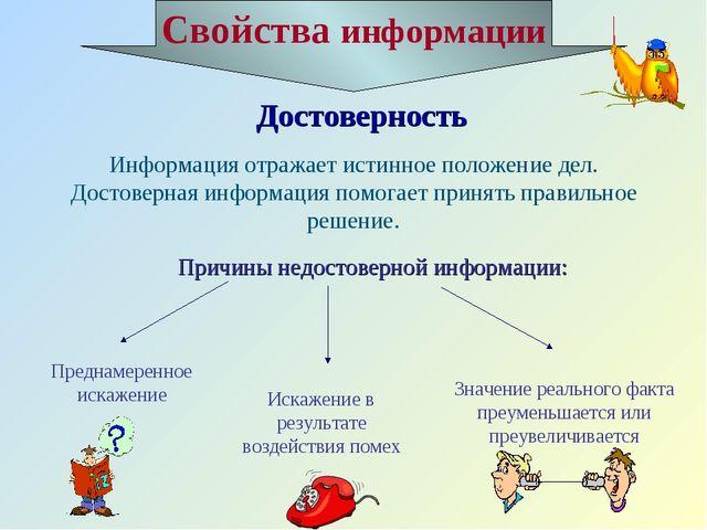 Достоверность Информация отражает истинное положение дел. Достоверная информа...