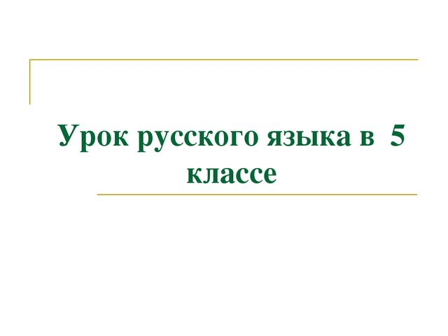 Урок русского языка в 5 классе