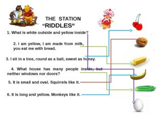 "THE STATION ""RIDDLES"" 2. I am yellow, I am made from milk, you eat me with b"