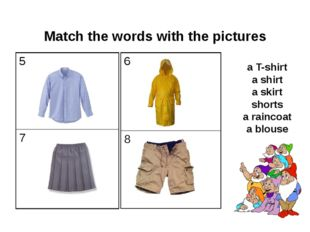 Match the words with the pictures a T-shirt a shirt a skirt shorts a raincoa