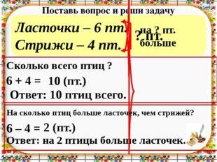 Ласточки – 6 пт. Стрижи – 4 пт. Поставь вопрос и реши задачу 6 + 4 = 6 – 4 =