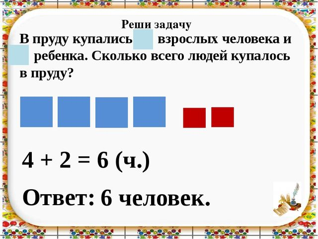 Реши задачу 4 + 2 = Ответ: 6 человек. 6 (ч.) В пруду купались 4 взрослых чело...