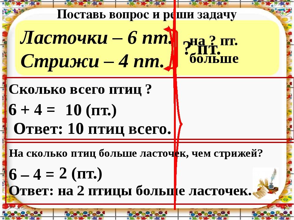 Ласточки – 6 пт. Стрижи – 4 пт. Поставь вопрос и реши задачу 6 + 4 = 6 – 4 =...