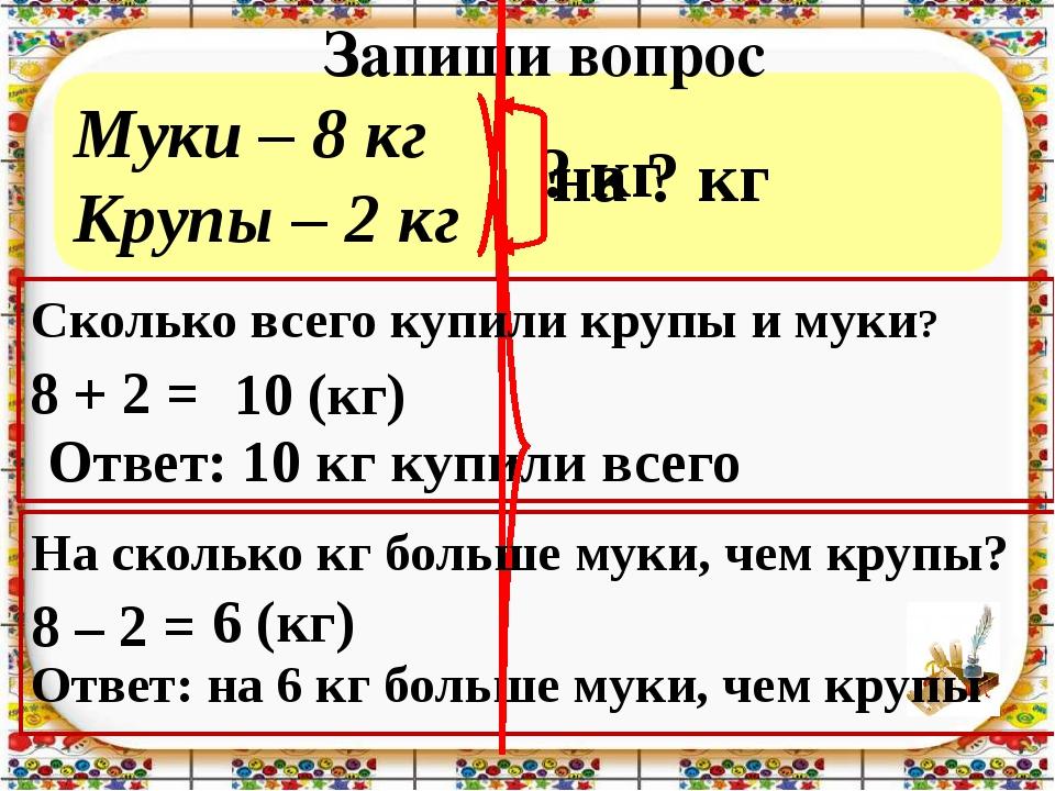 Муки – 8 кг Крупы – 2 кг Запиши вопрос 8 + 2 = 8 – 2 = Ответ: 10 кг купили вс...