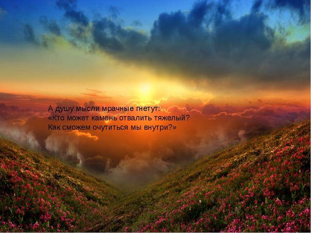 А душу мысли мрачные гнетут: «Кто может камень отвалить тяжелый? Как сможем...