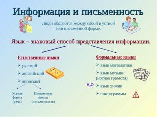 Информация и письменность Язык – знаковый способ представления информации. Лю