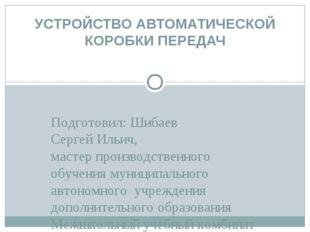 Подготовил: Шибаев Сергей Ильич, мастер производственного обучения муниципаль