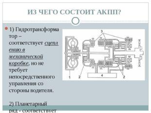 ИЗ ЧЕГО СОСТОИТ АКПП? 1)Гидротрансформатор– соответствуетсцеплению в механ
