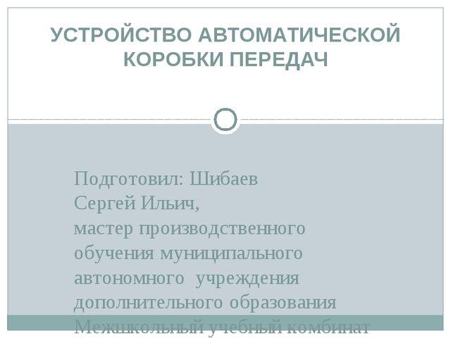 Подготовил: Шибаев Сергей Ильич, мастер производственного обучения муниципаль...