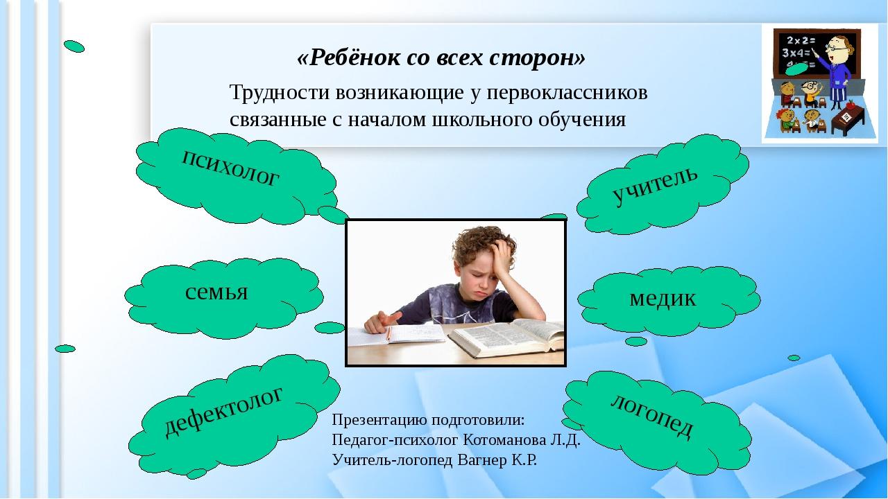 «Ребёнок со всех сторон» Трудности возникающие у первоклассников связанные с...