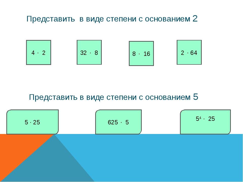 Представить в виде степени с основанием 2 4 ∙ 2 32 ∙ 8 8 ∙ 16 2 ∙ 64 Представ...