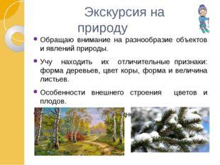 Экскурсия на природу Обращаю внимание на разнообразие объектов и явлений при