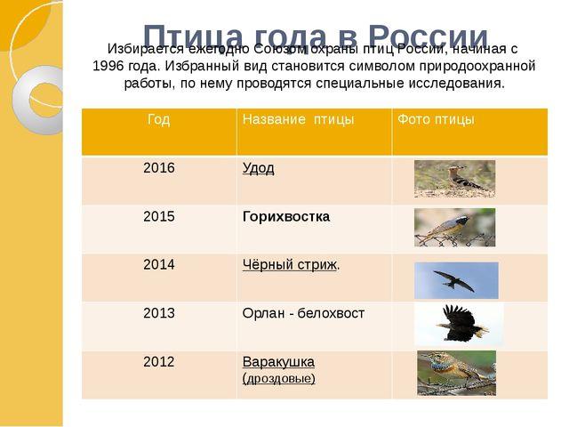 Птица года в России Избирается ежегодноСоюзом охраны птиц России, начиная с...
